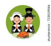kids give thanks. girl and boy... | Shutterstock .eps vector #723019066