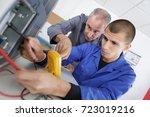 apprentice calibrating printer | Shutterstock . vector #723019216