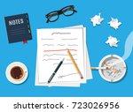 writer or journalist workplace. ... | Shutterstock . vector #723026956