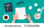 writer or journalist workplace. ... | Shutterstock . vector #723026986