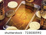 smartphone with bitcoin on... | Shutterstock . vector #723030592