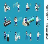 isometric set of male and... | Shutterstock .eps vector #723036382