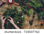 top view of florist hands... | Shutterstock . vector #723037762