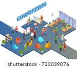 coworking people isometric... | Shutterstock .eps vector #723039076