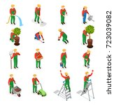 gardener isometric people icons ... | Shutterstock .eps vector #723039082