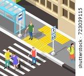 isometric blind people... | Shutterstock .eps vector #723039115