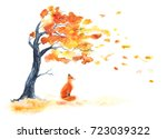 Watercolor Autumn Tree With...