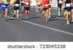 marathon running race | Shutterstock . vector #723045238
