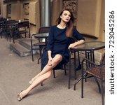 lovely young brunette woman ... | Shutterstock . vector #723045286