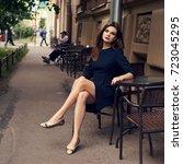 lovely young brunette woman ... | Shutterstock . vector #723045295