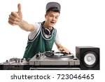 teenage dj playing music on a... | Shutterstock . vector #723046465