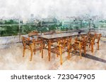 Wood Table Set On Terrace With...