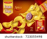 crunchy 3d potato chips with... | Shutterstock .eps vector #723055498