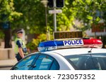 south australian police car on... | Shutterstock . vector #723057352