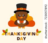 cute turkey with text | Shutterstock .eps vector #723057892
