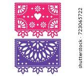 papel picado vector template... | Shutterstock .eps vector #723065722