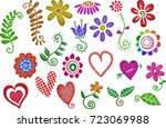 a set of glitter hearts and... | Shutterstock . vector #723069988