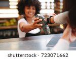 customer making wireless or... | Shutterstock . vector #723071662