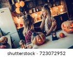 happy halloween  attractive... | Shutterstock . vector #723072952