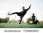 soccer player kicking ball....   Shutterstock . vector #723081892