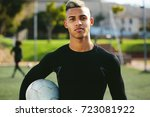 portrait of teenage soccer... | Shutterstock . vector #723081922