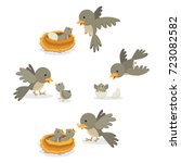 bird family. vector... | Shutterstock .eps vector #723082582