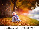 adorable happy baby girl... | Shutterstock . vector #723083212