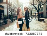 fashionable women out on the... | Shutterstock . vector #723087376