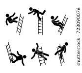 man falling off a ladder stick... | Shutterstock .eps vector #723090076
