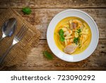 soup with chicken and noodles... | Shutterstock . vector #723090292