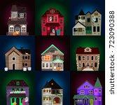 vector scary horror house dark... | Shutterstock .eps vector #723090388