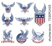 set of emblems with eagles and... | Shutterstock .eps vector #723091435