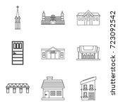 edifice icons set. outline set... | Shutterstock .eps vector #723092542