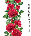 Stock photo red roses flowers floral seamless border watercolor frame 723092812