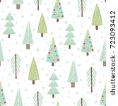 cute christmas trees seamless... | Shutterstock .eps vector #723093412