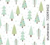 cute christmas trees seamless... | Shutterstock .eps vector #723093412