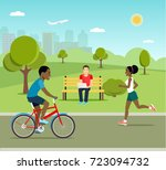 man riding a bicycle young man... | Shutterstock .eps vector #723094732