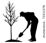 Planting A Tree  Vector