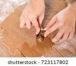 dealing with gingerbread start... | Shutterstock . vector #723117802