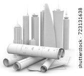 blueprints and cityscape model...   Shutterstock . vector #723131638
