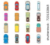 car top view above over icons... | Shutterstock .eps vector #723132865