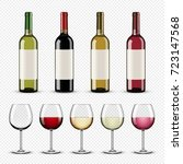 set of wine bottles and glasses | Shutterstock .eps vector #723147568
