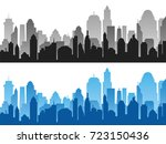 set of black and blue... | Shutterstock .eps vector #723150436