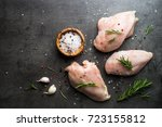 raw chicken fillet with spices. ... | Shutterstock . vector #723155812