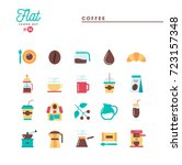 coffee  flat icons set  vector... | Shutterstock .eps vector #723157348