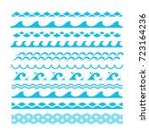 vector decorative blue sea... | Shutterstock .eps vector #723164236
