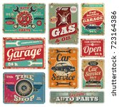 vintage car service and gas... | Shutterstock .eps vector #723164386