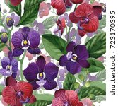 wildflower orchid flower... | Shutterstock . vector #723170395