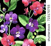 wildflower orchid flower... | Shutterstock . vector #723170755