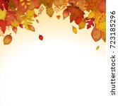autumn leaves background ... | Shutterstock .eps vector #723185296